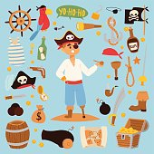 Pirate stickers icons vector
