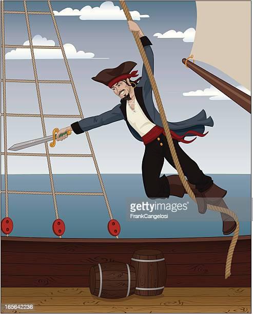 Pirate schwingen aus Seil auf Deck