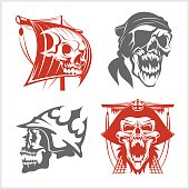 Pirate symbols - emblems set