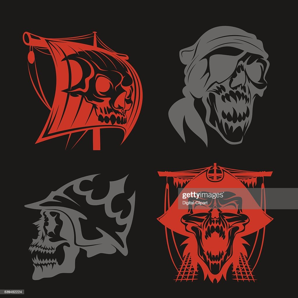 Pirate symbols - emblems set