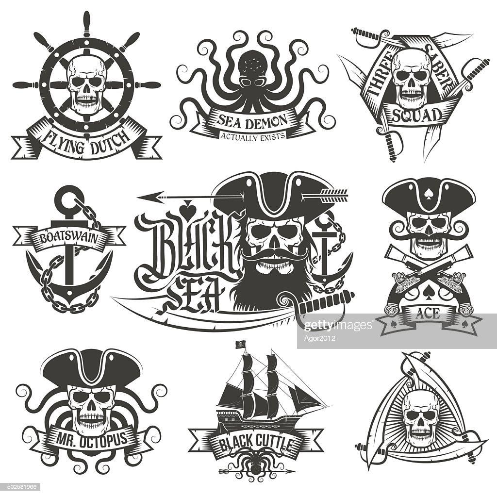 Pirate tattoo set