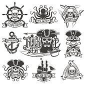 Pirate tattoo set