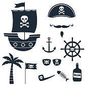 Pirate theme silhouettes set