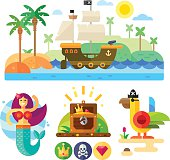 Pirate theme vector illustration set.