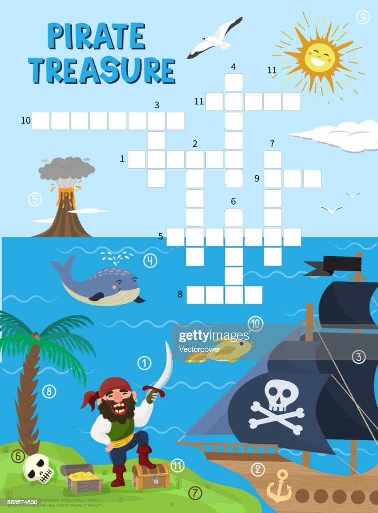 Pirate treasure adventure crossword puzzle maze education game for children about pirates find map sea labyrinth vector illustration
