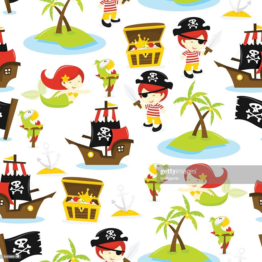 Pirate Treasure Island Seamless Pattern Background