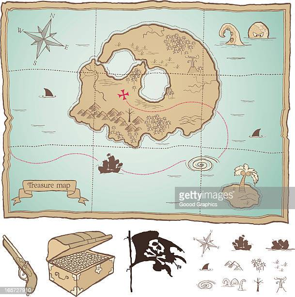 pirate treasure map - kong: skull island stock illustrations