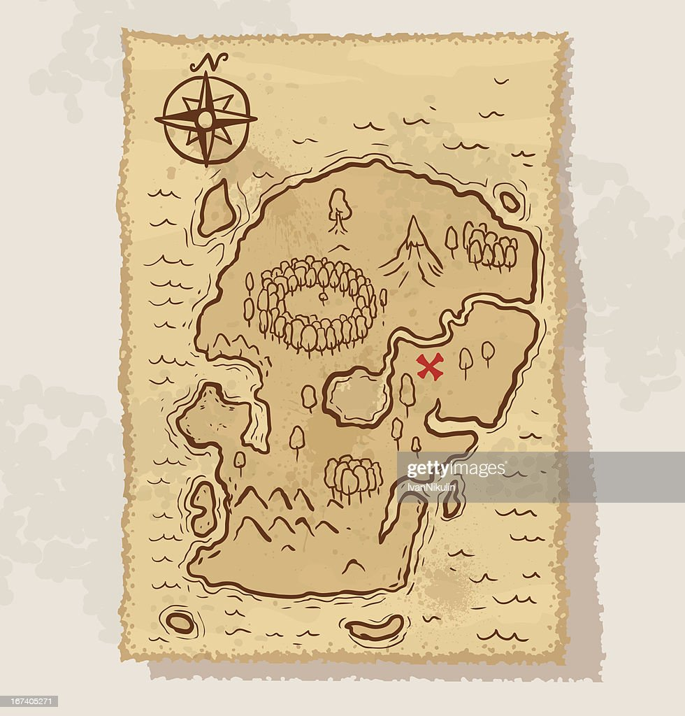 Pirate treasure map vector : Vector Art
