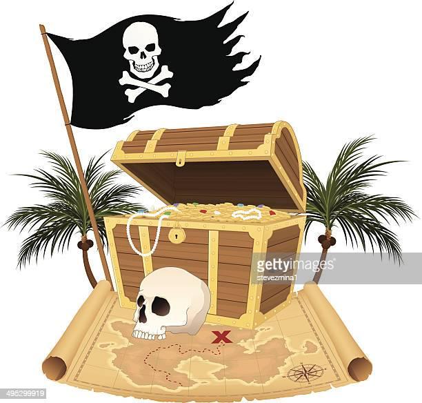 海賊の宝物 - 海賊旗点のイラスト素材/クリップアート素材/マンガ素材/アイコン素材