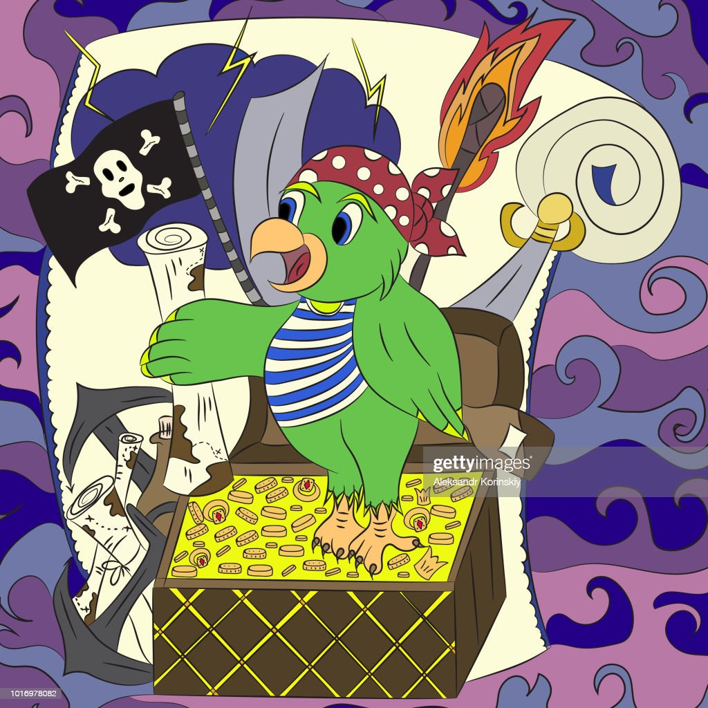 Pirate treasure,map,parrot.Vector illustration, colorful, hand-drawn