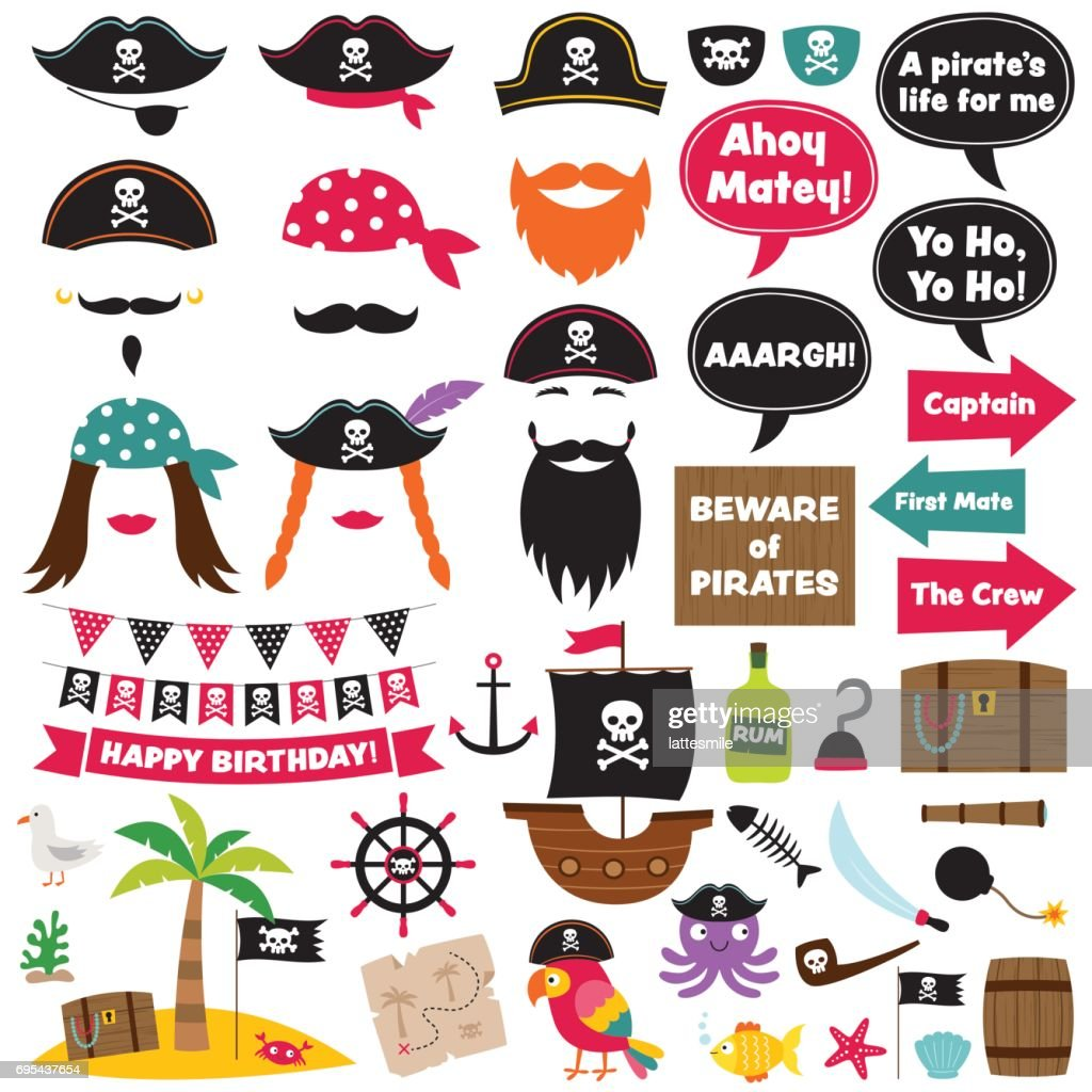 Pirate vector decoration and photo booth props
