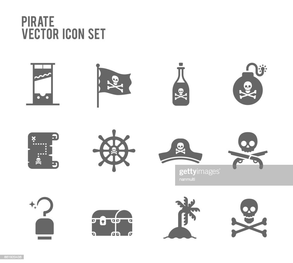Pirate vector icon set