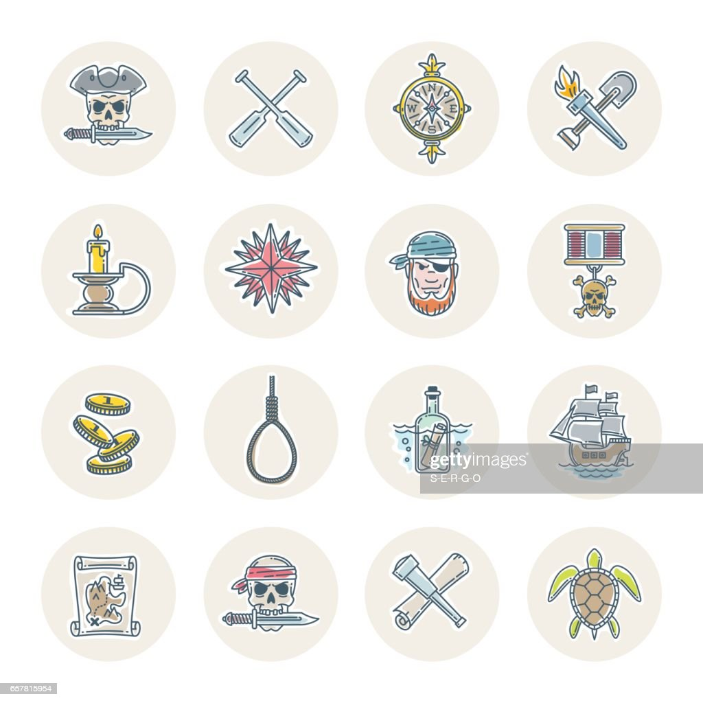 Pirate vector set - objects, items, signs and symbols