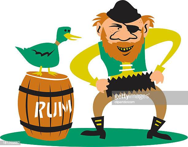 pirate with his rum - rum stock illustrations, clip art, cartoons, & icons