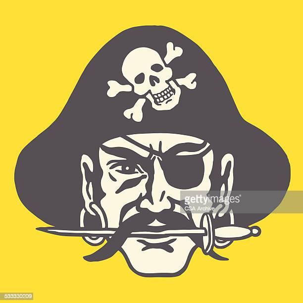 illustrations, cliparts, dessins animés et icônes de pirate avec couteau dans ses dents - moustache