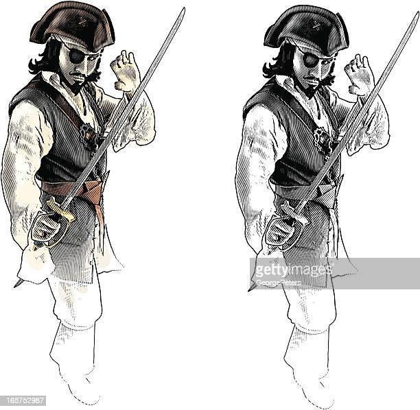 pirate with sword in fighting stance - fighting stance stock illustrations, clip art, cartoons, & icons