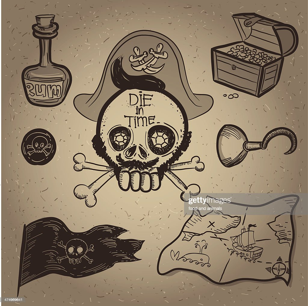 pirates accessory set of icon vector illustration