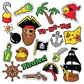 Pirates Badges, Patches, Stickers - Ship, Crossbones and Skeleton