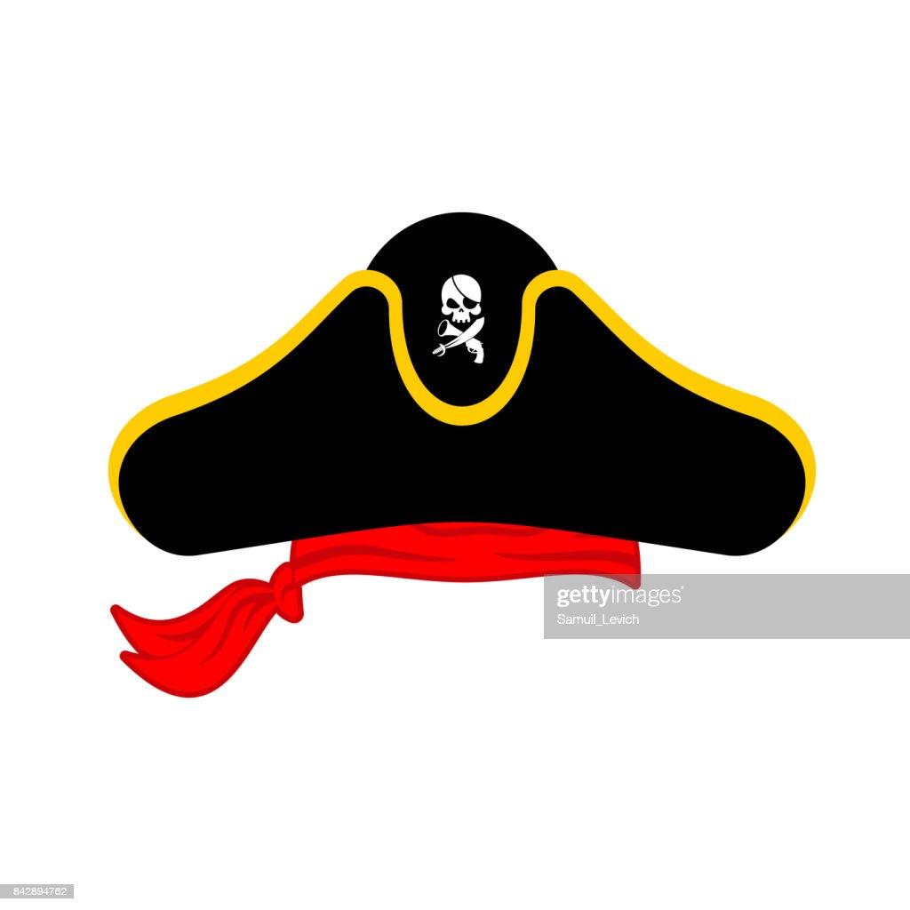 Pirates cap isolated. Hat buccaneer. Bones and skull. Corsair Accessory