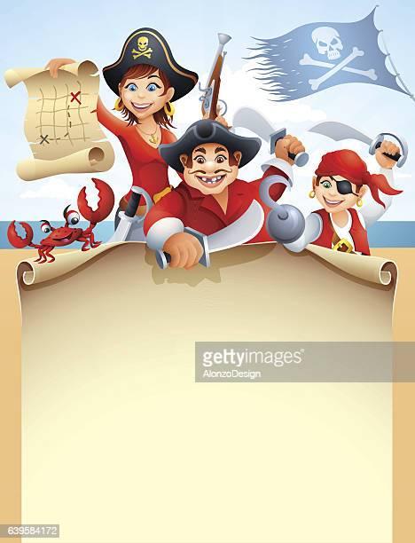 ilustraciones, imágenes clip art, dibujos animados e iconos de stock de pirates crew with paper scroll - obesidad infantil