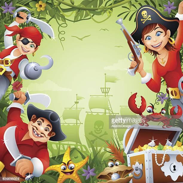 ilustraciones, imágenes clip art, dibujos animados e iconos de stock de pirates in the jungle - obesidad infantil