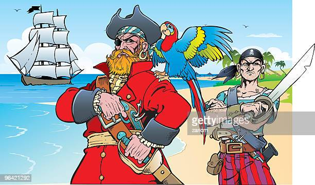 pirates on island - waist up stock illustrations, clip art, cartoons, & icons
