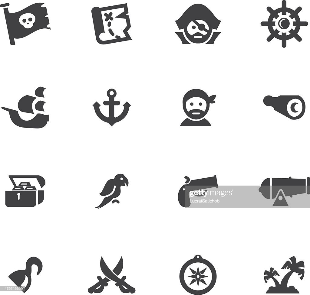 Pirates Silhouette icons set