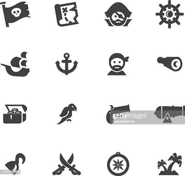 海賊シルエットアイコン設定 - 海賊旗点のイラスト素材/クリップアート素材/マンガ素材/アイコン素材