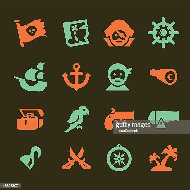 pirates silhouette red and green icons set - rum stock illustrations, clip art, cartoons, & icons