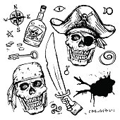 Pirates skull in hat. Isolated piratical adventure attributes hand drawn vector set: keys and rum, mysterious symbols.