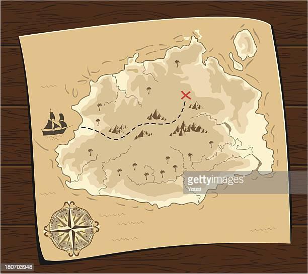 ilustraciones, imágenes clip art, dibujos animados e iconos de stock de mapa de schat van de zeerover - mapa del tesoro
