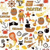 Pirates vector cartoon seamless pattern. Adventures and Pirate party background for Kindergarten. Children Adventure, treasure, pirates, octopus, whale, ship - Kids drawing vector cartoon endless seamless pattern in Pirate and treasures theme