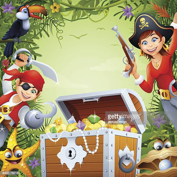 pirates with treasure in the jungle - pirate boat stock illustrations, clip art, cartoons, & icons