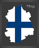 Pirkanmaa map of Finland with Finnish national flag illustration
