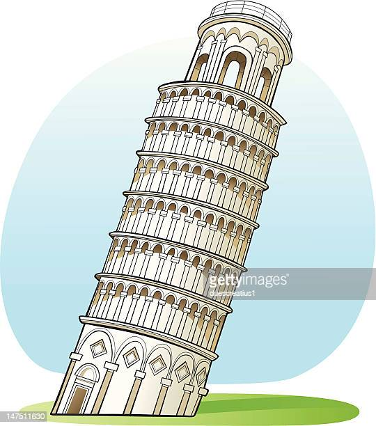 pisa tower, italy - leaning tower of pisa stock illustrations, clip art, cartoons, & icons