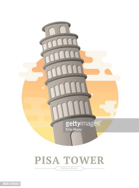 pisa tower - leaning tower of pisa stock illustrations, clip art, cartoons, & icons