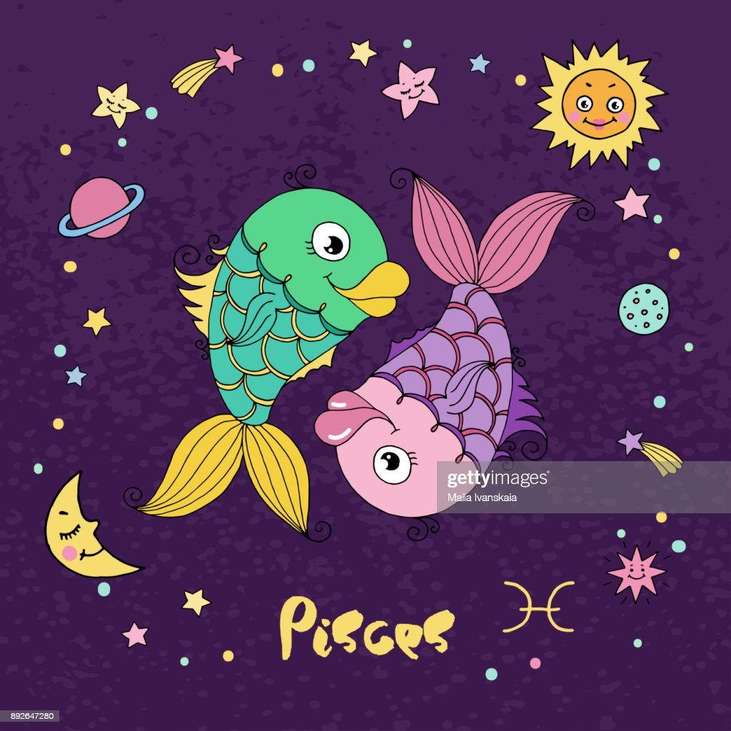 Pisces Zodiac Sign On Night Sky Background With Stars Vector Art