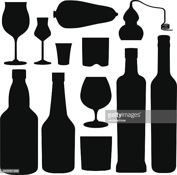 pisco elements silhouettes - shot glass stock illustrations, clip art, cartoons, & icons
