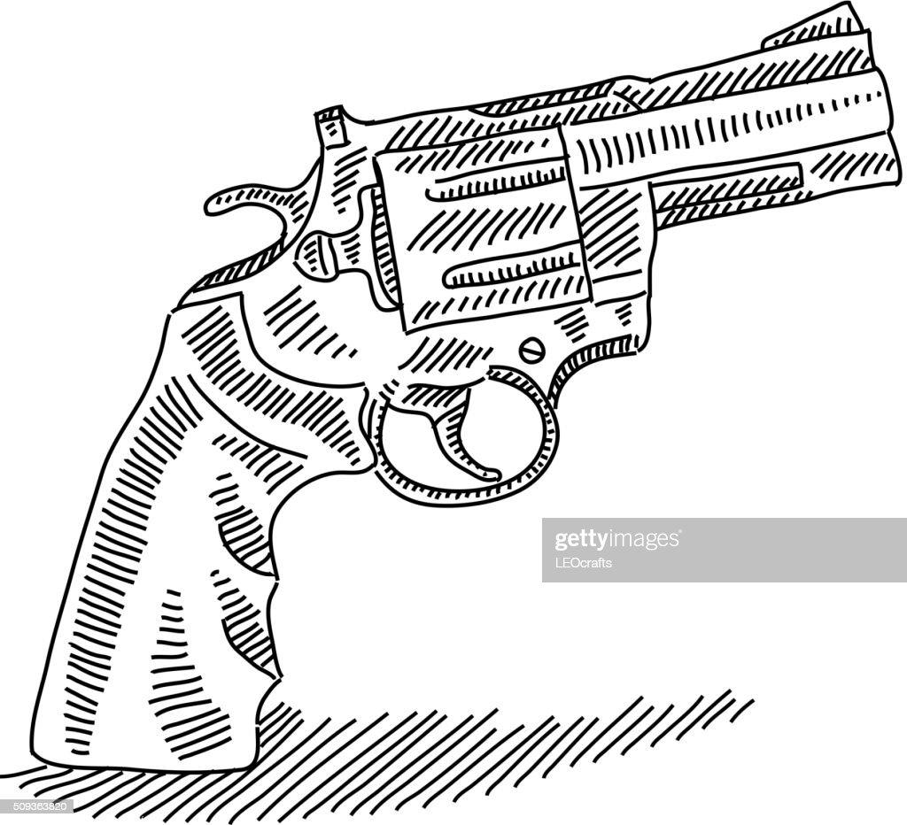 handgun stock illustrations and cartoons Flintlock Hunting pistol drawing