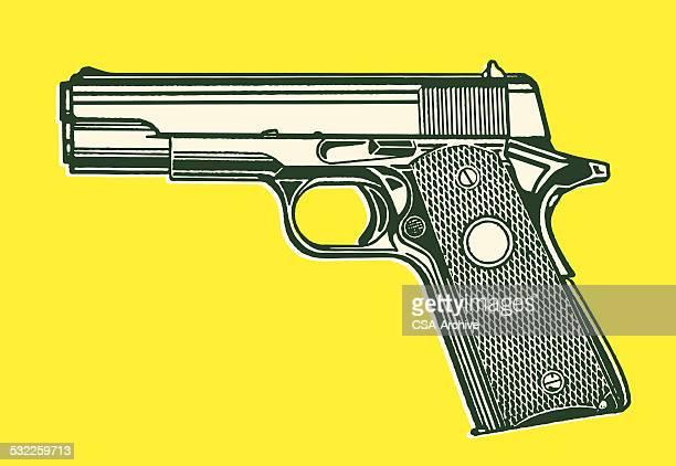 ilustrações de stock, clip art, desenhos animados e ícones de revólver pistola - armadefogo