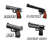 pistol weapon set cartoon design