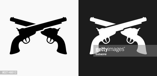 pistols icon on black and white vector backgrounds - handgun stock illustrations