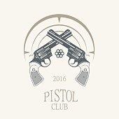 pistols revolvers in vintage style - vector illustration