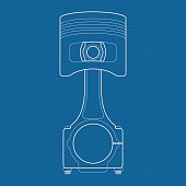 Piston. Vector illustration on Blueprint Background.