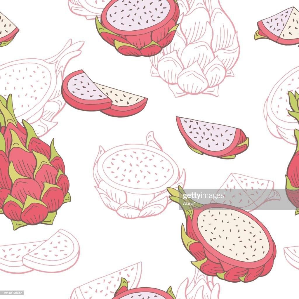 Pitaya dragon fruit graphic color seamless pattern sketch illustration vector