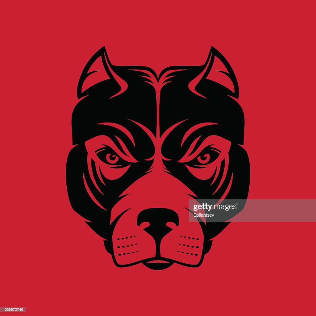 Pitbull. Dog head sign or icon in one color.