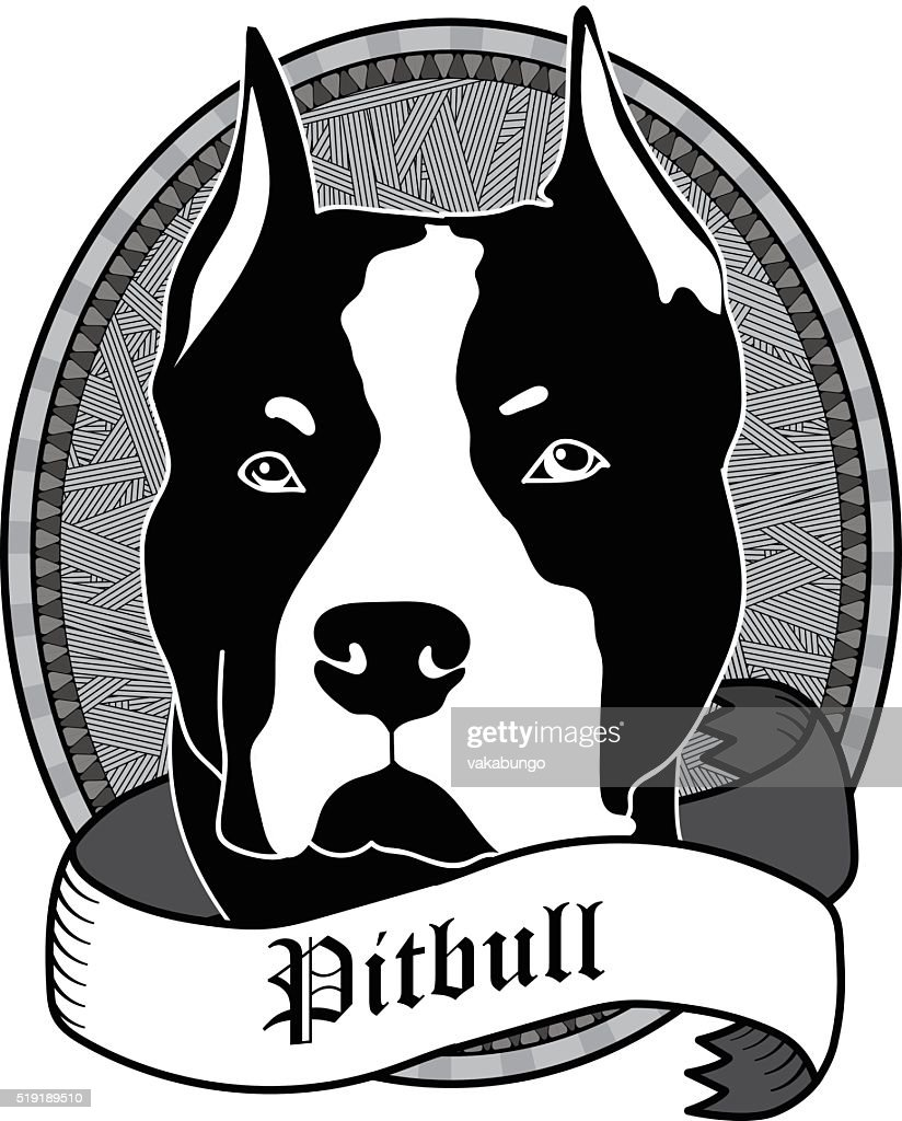 Pitbull Portrait. Isolated Vector dog Illustration