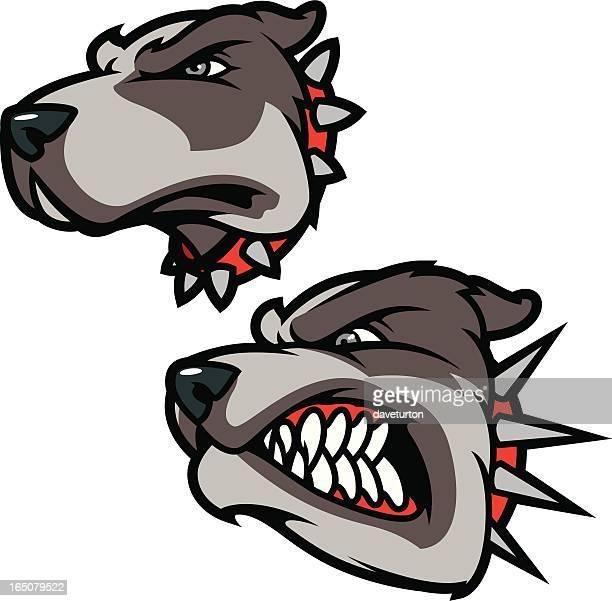 ilustraciones, imágenes clip art, dibujos animados e iconos de stock de pitbulls - pit bull terrier
