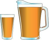 Pitcher and Pint glass of beer