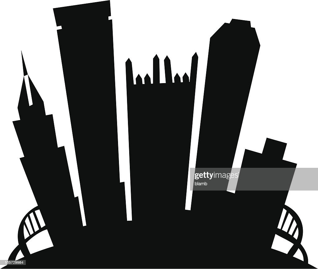 Pittsburgh Cartoon City Silhouette